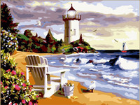 oil paint by numbers - Framed DIY digital oil painting by numbers unique gift the picture X80cm Beach Lighthouse paint by number