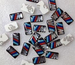 Wholesale-100pcs/lot, New Car styling M small Decorative Badge Hub caps Steering wheel Car Emblem Sticker 17.4 X 9.4 mm