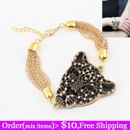 Wholesale Aliepxress Hot Sale Noble Crystal Panther Head Gold Chain Agile Leopard Tiger Bracelet
