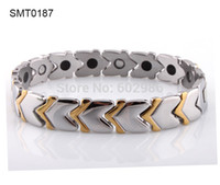 Wholesale Germanium Stainless Steel charm Bracelets bangles magnetic italian titanium Steel man gold Bracelet men jewelry