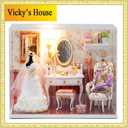 Wholesale-3D DIY Handmade Miniature house DollHouse Princess Room Wedding Crafts With Furniture Doll Family 3 LED light