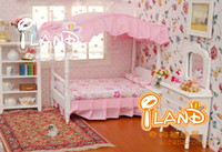 Wholesale Miniature Doll House Set Wooden Furniture Accessories Mini pink princess bedroom furniture Bed cabinet Dollhouse Toy