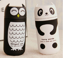 Wholesale Direct manufacture lovely panda owl stainless steel vacuum flasks creative cup for both women and children