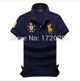 Wholesale-Big horse 2015 POLO in stock size S-XXXL Good quality brand logo men 's polo shirt short sleeve polo men