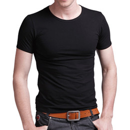 Wholesale-man spring clothing solid color t-shirt men blank o-neck T shirt 100% short-sleeve cotton shorts V-neck lycra men short sleeve