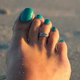 Wholesale Women Lady Elegant Adjustable Antique sterling Silver Metal Toe Ring Foot Beach Jewelry for women
