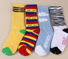 Wholesale-New Free Shipping ofwgkta Cotton Thick Terry Golf Wang Socks for Men and Women Rainbow Stripes Zebra and White Clouds Socks 015w