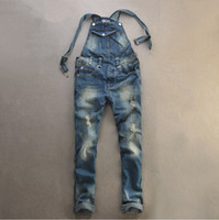 skinny jeans for men - jeans mens skinny jean overalls ripped trousers for men blue jumpsuit pants heavyweight Distrressed hole suspenders overalls