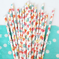 flower paper straws - Lovely Flower Paper Straws Floral Paper Straws Party Drinking Straws Party Supplies Wedding Supplies