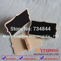 Wholesale x Mini Blackboard Chalkboard Pegs Wooden Clips Fancy Wedding Party Place Cards Decor