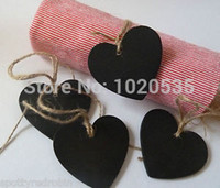 Wholesale New X Mini Chalkboard Both Sides Wood Hearts with string For Red Winne Bottle Mark blackboard