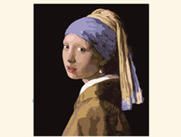 oil paint by numbers - Hand painted oil painting by numbers DIY Paint Acrylic Drawing With Brush Paints Home Decorating girl with a pearl earring