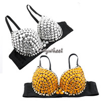 best dance pad - Hot Sale Best Quality Sexy Women Party Disco Bead Rhinestone Embellished Design Bra Belly Dance Bra