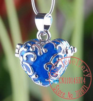 prayer box charm - Blue Wish Prayer Box Pendant Magic Perfume Locket charm pendant fit Bracelet necklace P158