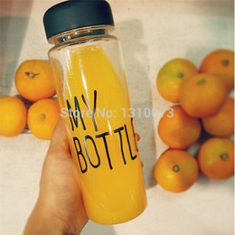 Wholesale Hot My Bottle cm Health material ml Funny Fruit juice water tour out door cup botle with bag best service