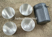 Wholesale ml set Stainless Steel Water Wine Cup w Leather Pouch Travel Accessory Business Christmas Gift