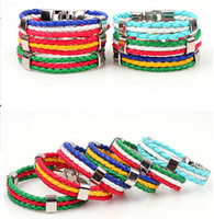 argentina leather - World Cup Football soccer Women Men Braided Leather Bracelet Germany Italy Brazil French Argentina Netherlands