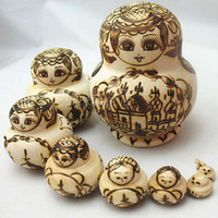 wooden doll - New Nesting Dolls Wooden Russian Dolls Basswood Pyrography Matryoshka Doll Kids Gift Fashion Ethnic Interacitive Dolls