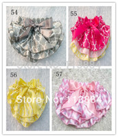 baby underwear with ruffles - New Style Baby Satin Bloomers Colorful Flowery Print Bloomers Girls Ruffled Shorts with Ribbon Bow Kids Underwear Sizes