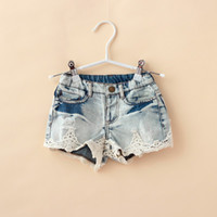 Cheap Wholesale-Girls Jeans Lace Shorts Children Casual Denim Clothing Summer 2015 All Match Toddler Kids Clothes Wears Brand 1PC