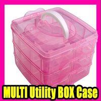 c037 - Best Selling NAIL ART Craft MAKEUP MULTI Utility BOX Case Pink C037