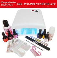 nail starter kit - New gel polish Starter Kit Full Kit for DIY Home Nail Art Design Including UV Lamp And Colours