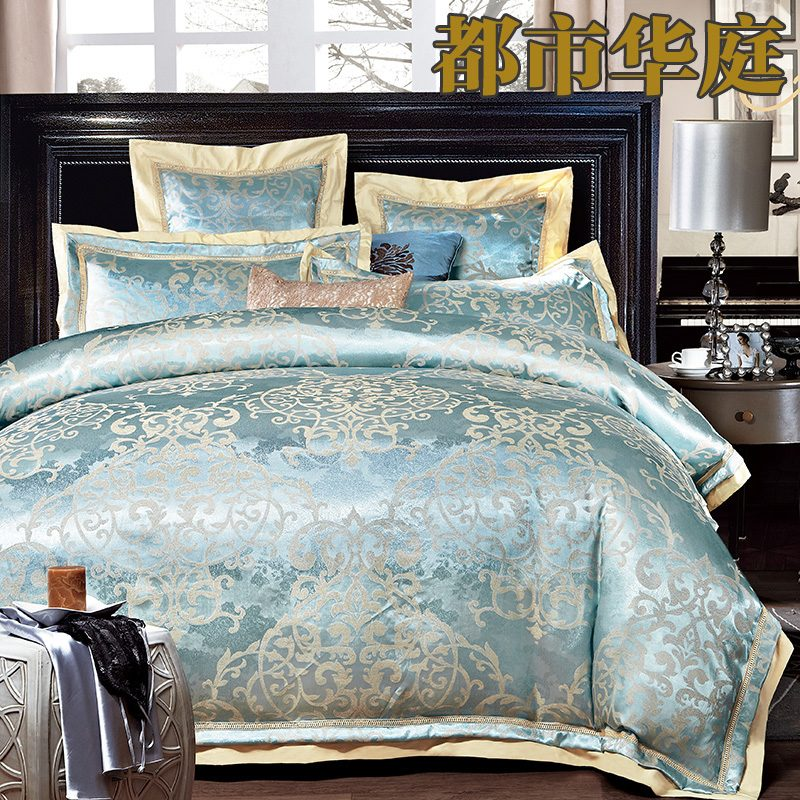 luxury jacquard silk cotton bedding set queen king size 4. Black Bedroom Furniture Sets. Home Design Ideas