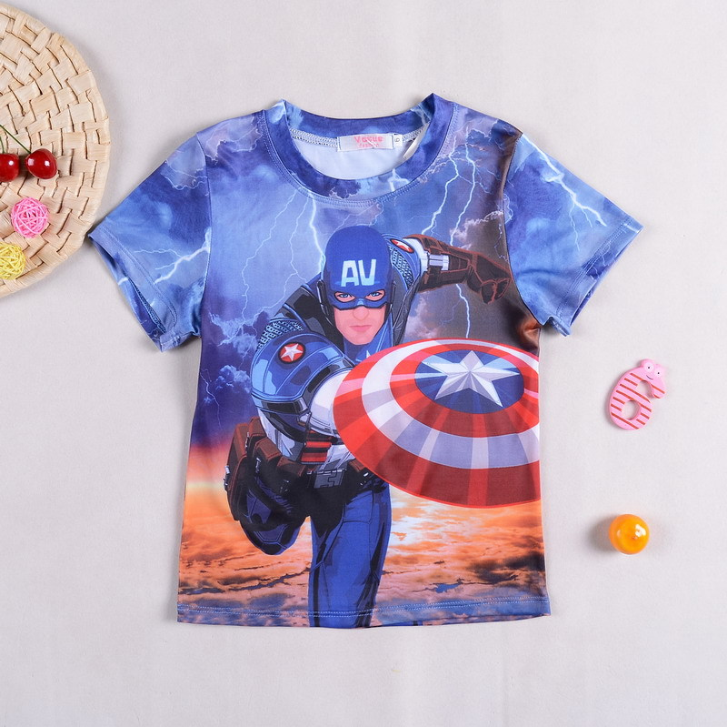 2017 Captain America Children Kids Baby Boy Shirts Cotton