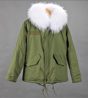 2017 mr mrs furs fur lined parka jacket in green mr. Black Bedroom Furniture Sets. Home Design Ideas