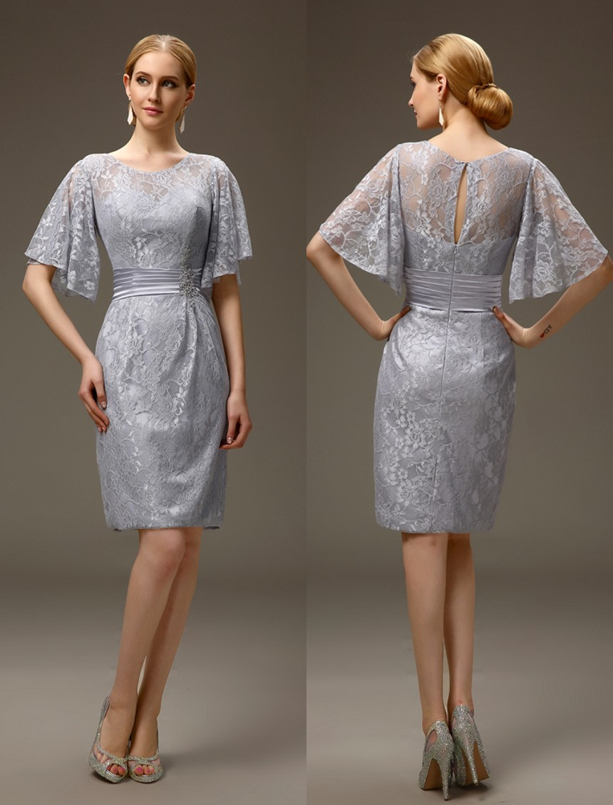 Silver grey short casual summer sheath lace mother of the for Mother of the bride dresses for outdoor summer wedding