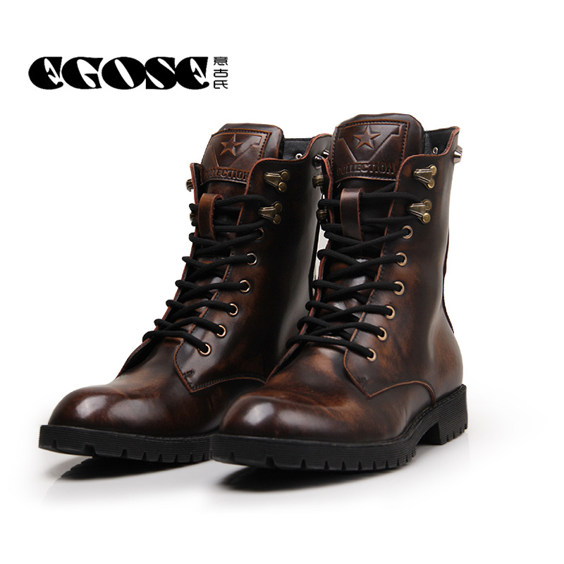mens autumn winter genuine leather fashion cowboy motorcycle boots men  u0026 boy rubber sole martin