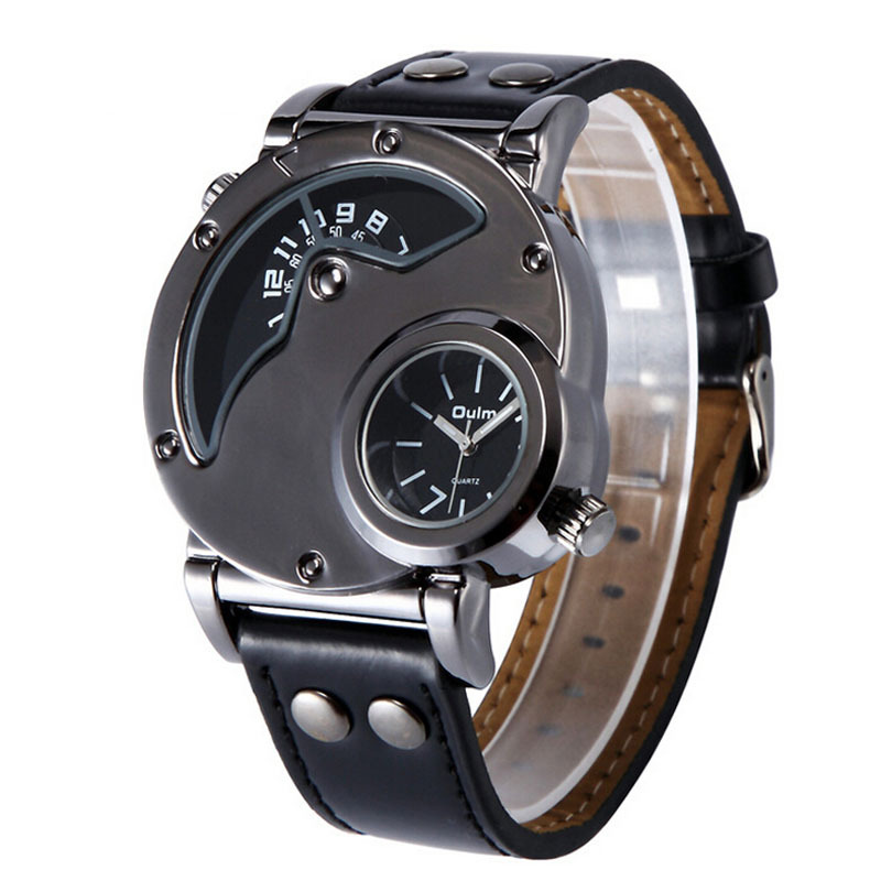 area zones - Oulm Two Time Area Watch Fashion Personality Analog Alloy Men s Sports Multiple Time Zone Quartz Watches