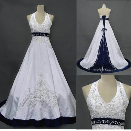 Discount Navy Blue And White A Line Wedding Dresses Halter Neck Backless Lace Up Closure Bridal