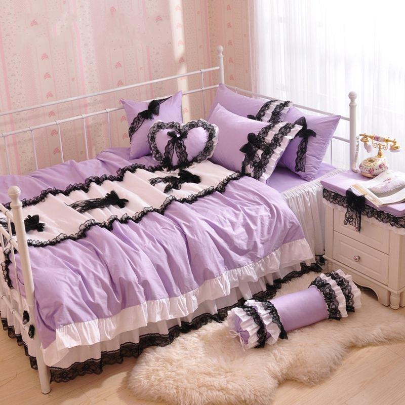Pink And Purple Bedroom: Korean Style Black Lace Bedspread Pink Princess Bedding