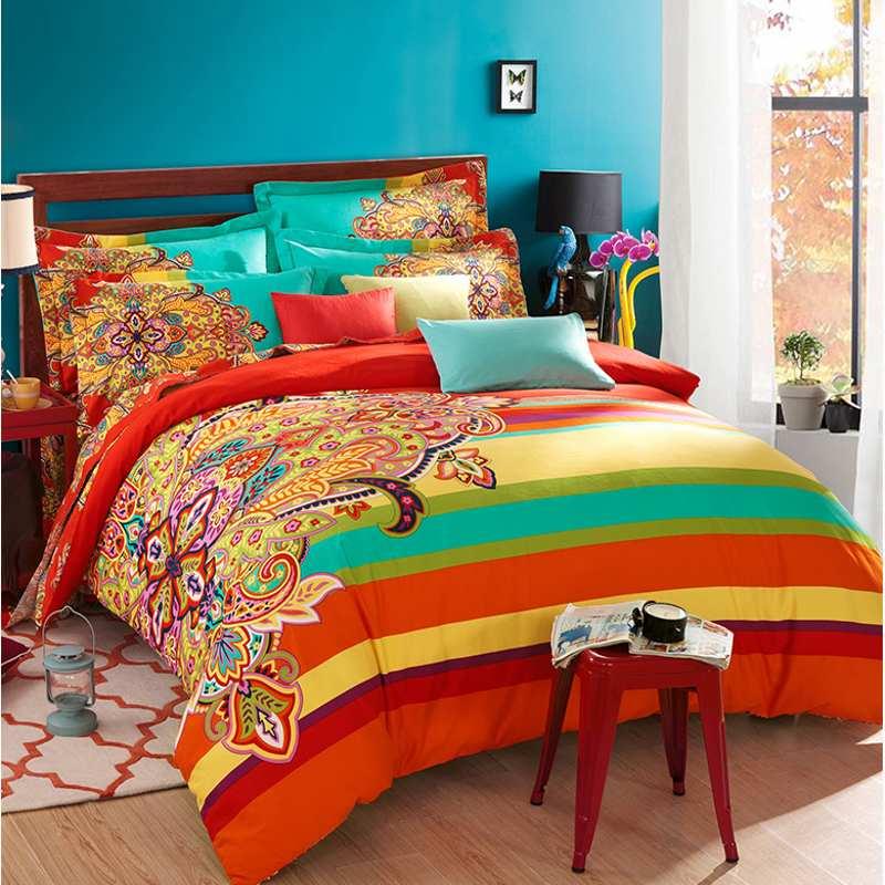 100 Sanded Cotton Fabric Bohemia Boho Duvet Cover Set