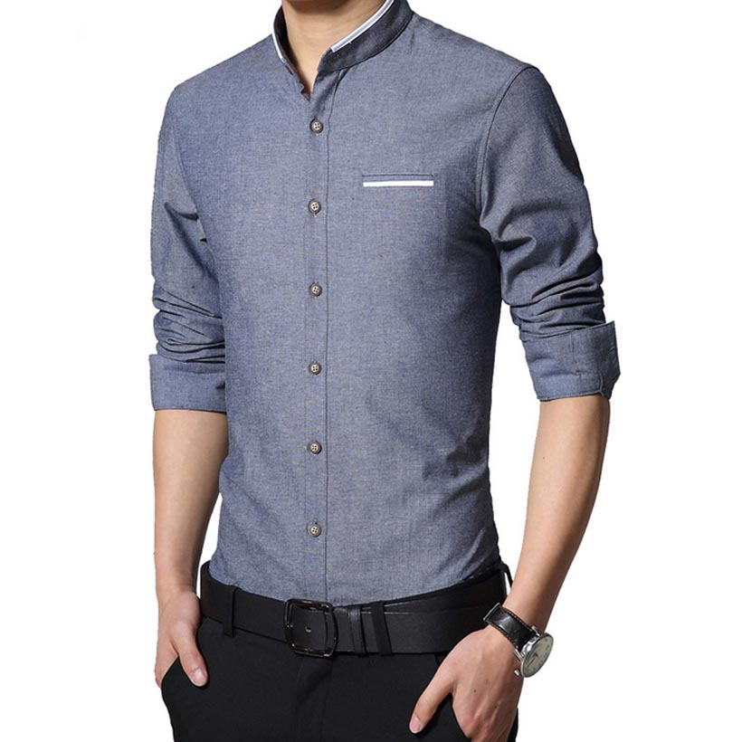 2016 new fashion casual men shirt long sleeve slim fit for Collarless white shirt slim fit