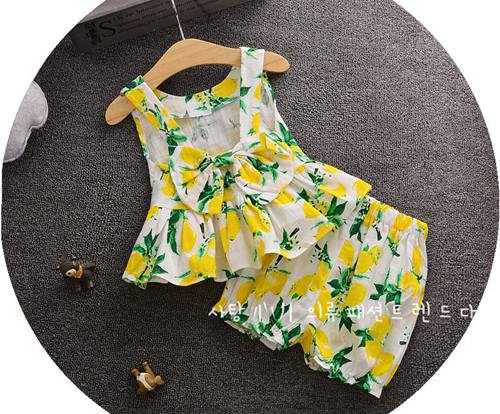 2017 New Baby Lemon Clothes Girls Two Pieces Outfits Kids