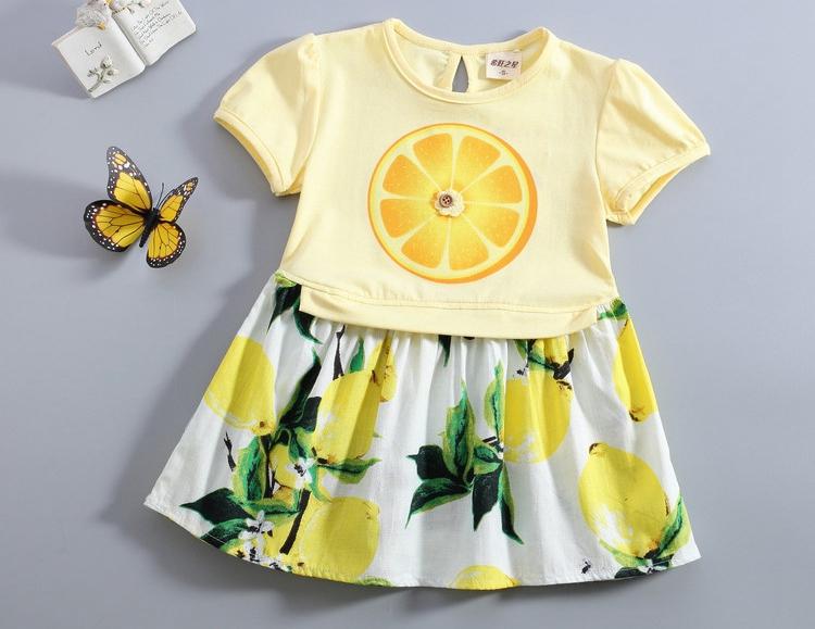 2017 Girls Lemon Dress 2016 Summer Designer Baby Clothes