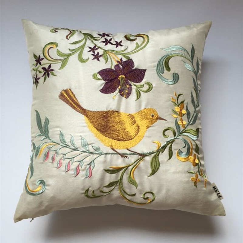 Bird cushion linen pillow covers floral cushions for sale