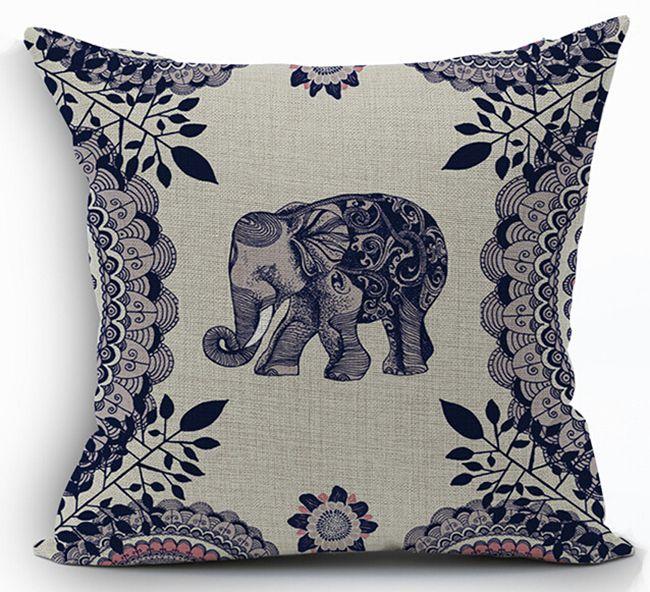 Ethnic animal cushion cover cotton linen elephant throw - Fundas cojines sofa ...