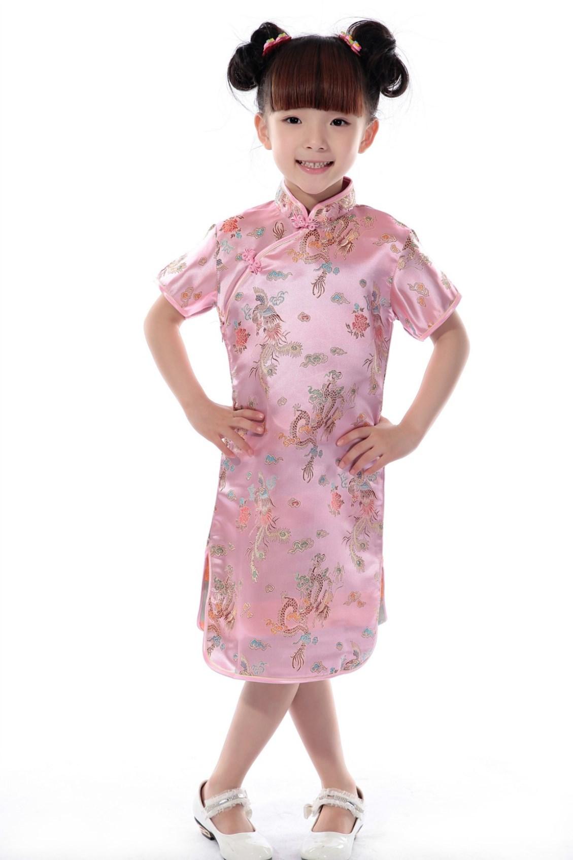 2017 silk fabrics 1 7 years children chinese traditional for Kids dress fabric