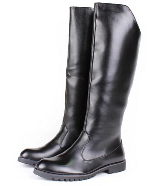 s leather shoes knee high boots plain black