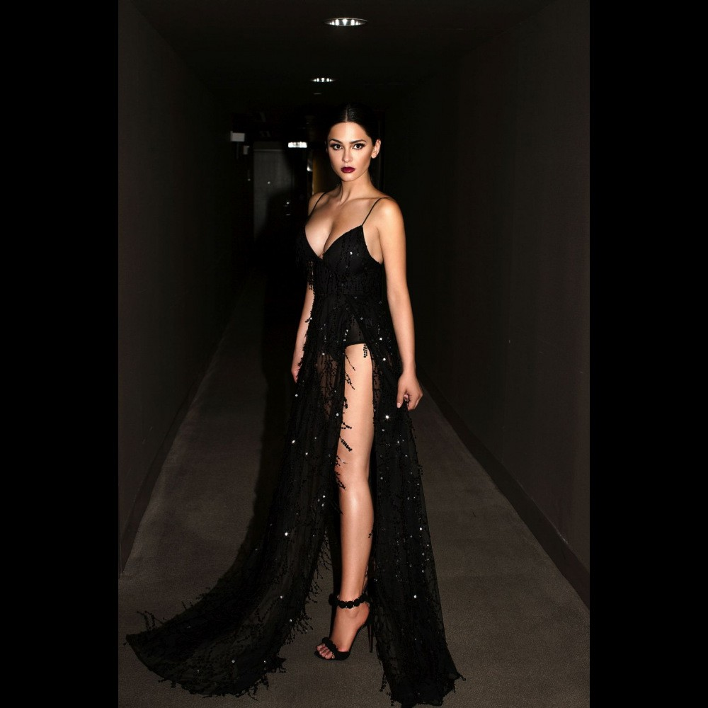 2017 2017 Sexy Deep V Neck High Split Sequin Tassel Long ...