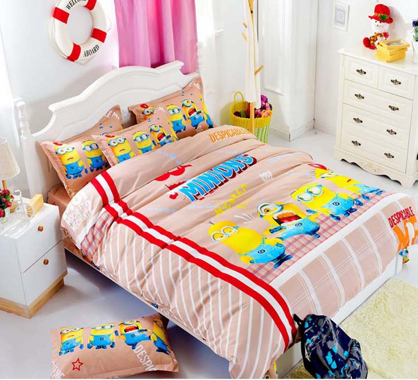 Kids Adults Cartoon Small Yellow People Bedding Set Duvet Cover Bedsheet Pillowcase Twin Full