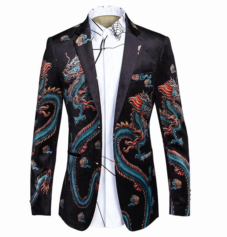 2017 Men Dragon Pattern Print Suit Blazer Top Quality ...