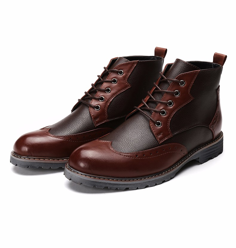 Menu0026#39;S Boots Brown Leather Shoes Vintage Design Booties Ankle Dress Shoes Black Leather Boot High ...