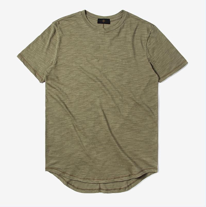 New mens blank bamboo t shirts fashion short sleeve for Long line short sleeve t shirt