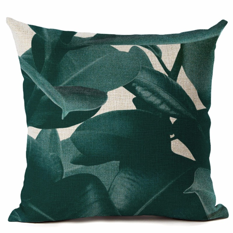 dark green cushion cover spring summer leaf throw pillow case for sofa couch pot plant almofada. Black Bedroom Furniture Sets. Home Design Ideas