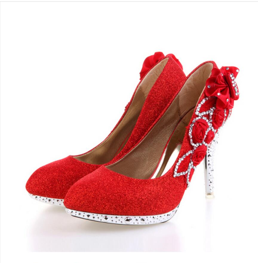 Ladies christmas high heels for women platform wedding