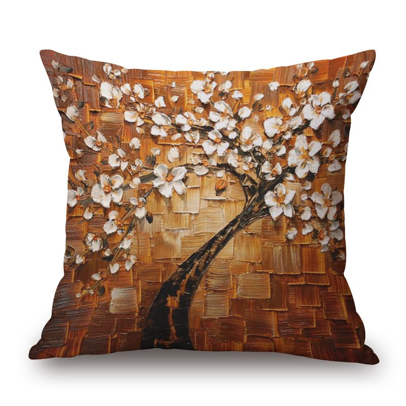 3d oil painting cushion cover decorative flower almofada for Cojines sofa exterior